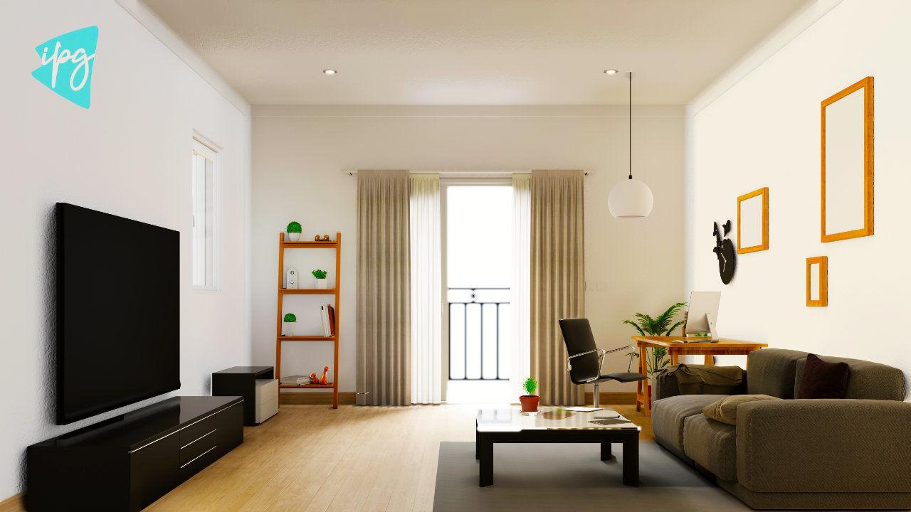 Интерьерный плакат-макет гостиной с красочным белым диваном. 3D.